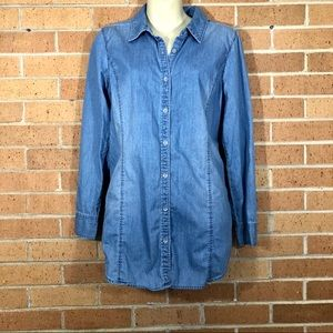 J. Jill sz Small chambray denim button down shirt